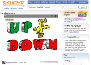 An example program using LEGO WeDo with Scratch called updownduck.