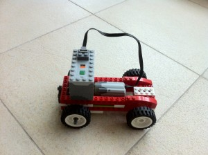 This WeDo car has an AAA battery pack for power.