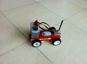 This WeDo car uses an AAA battery pack for power and is turned off and on with a control switch.