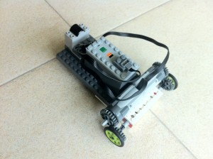 This WeDo car has a battery pack for power, two motors and an infrared receiver.