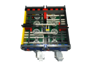 Open LEGO shaketable displaying gear trains inside