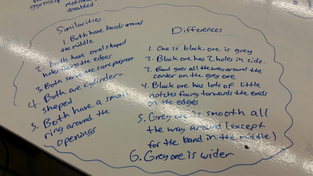 Students write down differences.