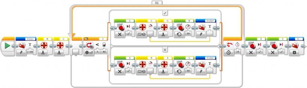 Initial line follower program with file access and internal rotation sensor blocks