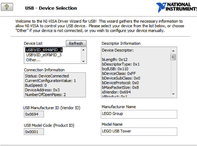 USB - device selection