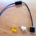 Lamp or legacy light, NXT/RCX converter cable and transparent 2x1 yellow brick