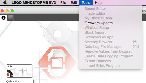 Firmware update screenshot